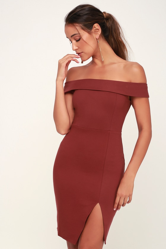 c4c9e954f7b0 Sexy Wine Red Dress - Off-the-Shoulder Dress - OTS Bodycon Dress