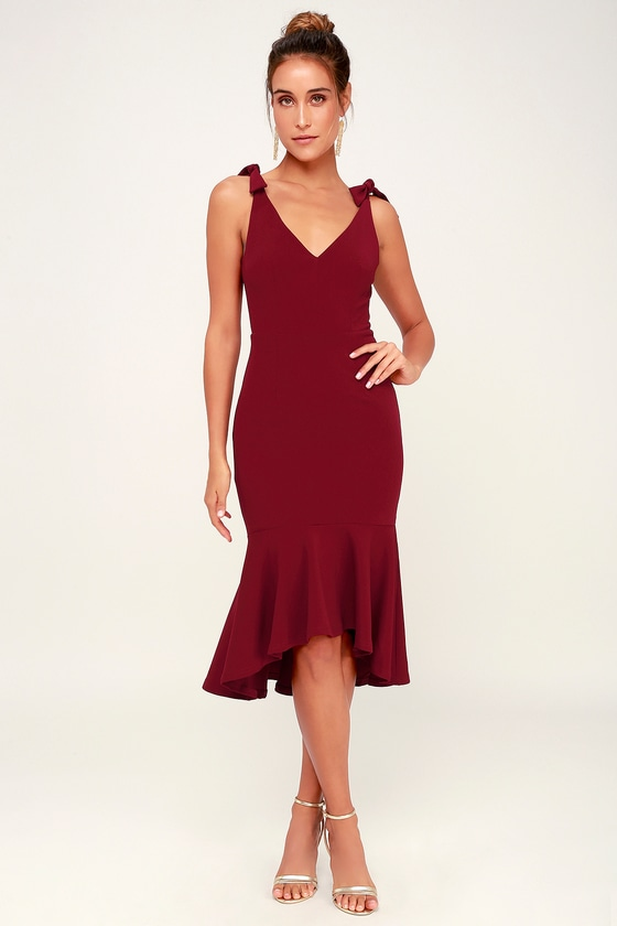 Want You to Want Me Wine Red Trumpet Hem Bodycon Midi Dress