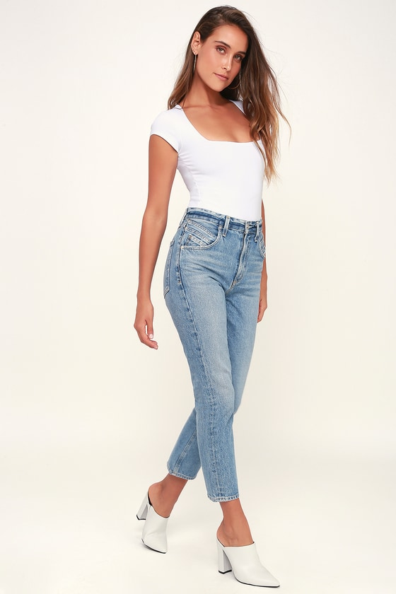 f7708778dcac AGOLDE Palmer - High Waisted Jeans - Light Wash Jeans - Blue Jean