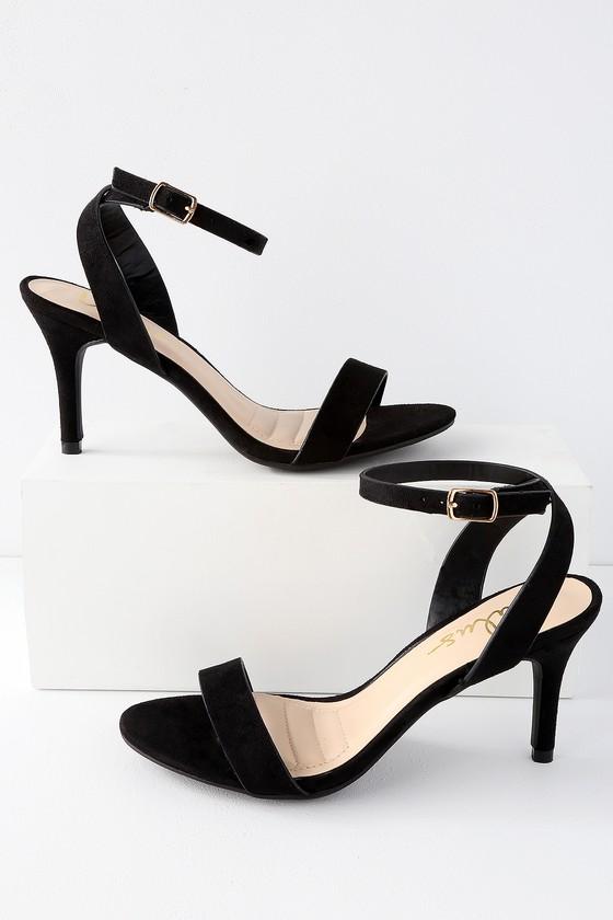 90c604af9b1 Hunter Black Suede Ankle Strap Heels
