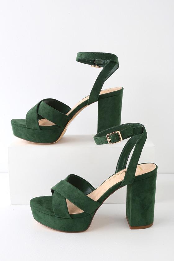 5e94007a0600 Cute Green Ankle Strap Heels - Platform Heels - Green Heels