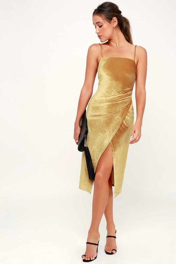 bb7a64841c527 Chic Velvet Dress - Mustard Yellow Dress- Velvet Midi Dress
