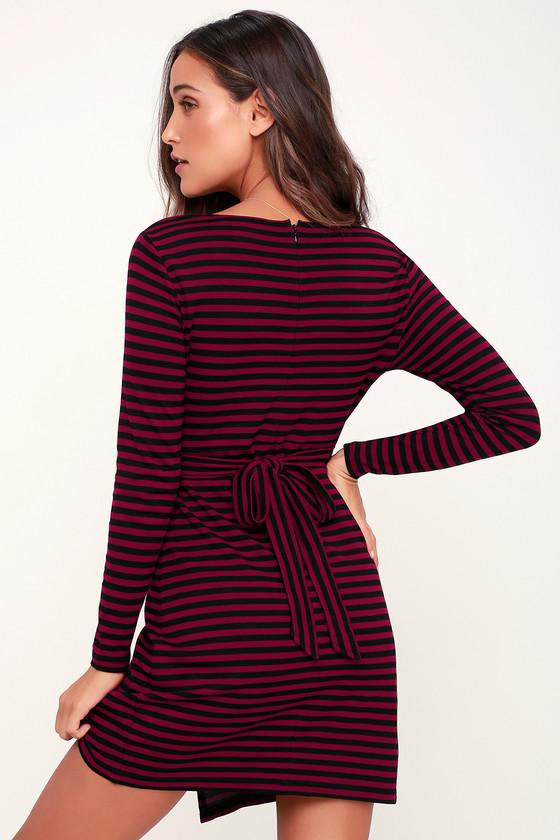 14e3182909f0 BB Dakota All Day Everyday - Burgundy and Black Striped Dress