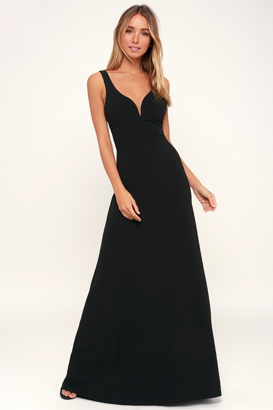 Sexy Black Maxi Dress V Neck Maxi Dress Black Sleeveless Maxi