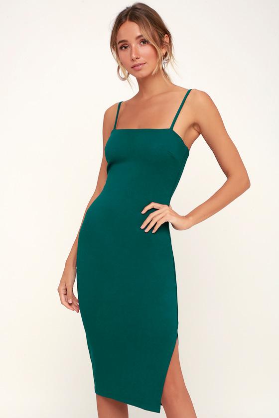 077874520ac Sexy Forest Green Dress - Bodycon Dress - Midi Dress - Dress
