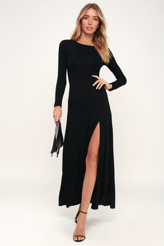 4d1c30b5f5 Chic Black Dress - Maxi Dress - Long Sleeve Dress
