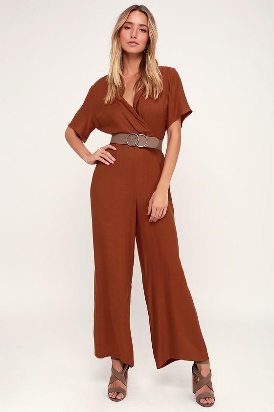 hot sale variousstyles largest selection of Aryelle Rust Orange Wide-Leg Jumpsuit