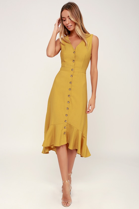 960441bea43 Cute Yellow Midi Dress - Sleeveless Dress - Ruffle Dress
