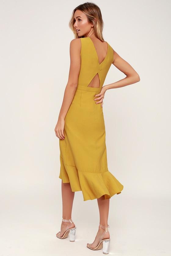 1a0c853ac6 Cute Yellow Midi Dress - Sleeveless Dress - Ruffle Dress