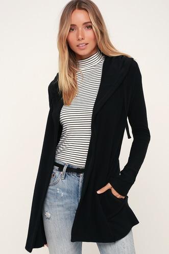 d12dc727ab5 Soft Spun Black Hooded Cardigan Sweater