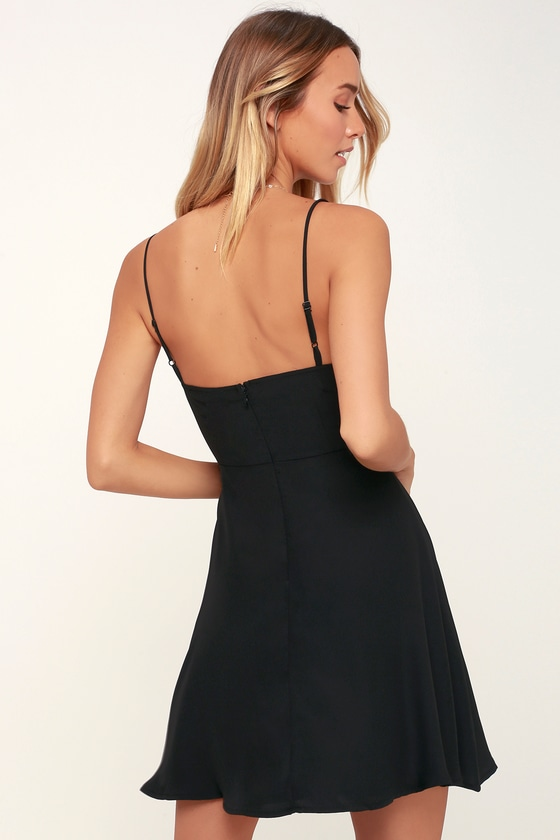 ac5f4699b5 Cute Black Dress - LBD - Black Skater Dress - Black Mini Dress