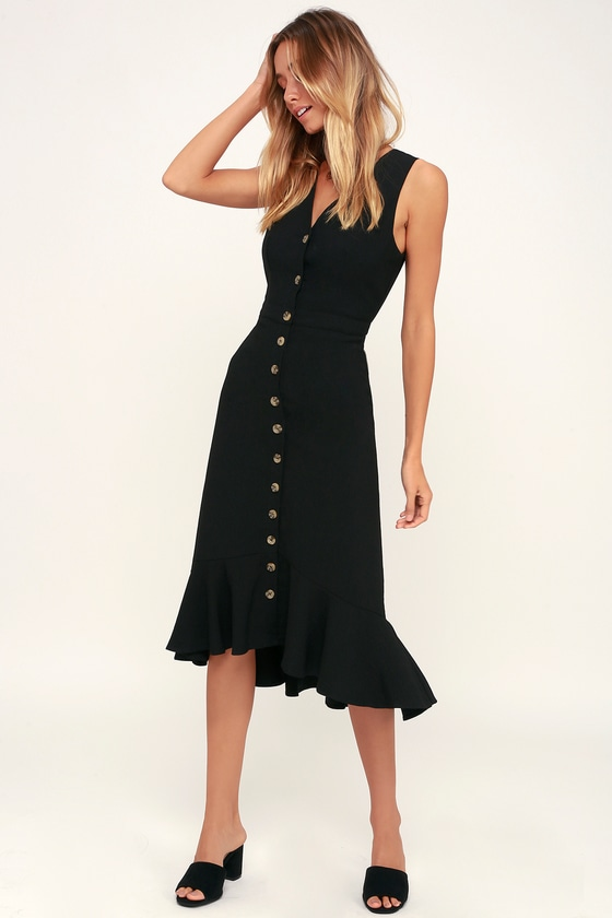d5cb04c72dd19 Cute Black Midi Dress - Black Sleeveless Dress - Ruffle Dress