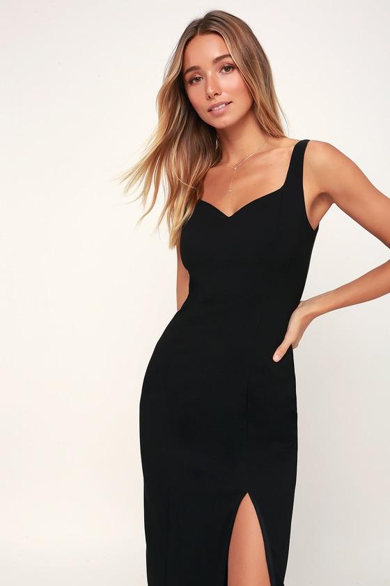 e2c4db387fb4 Cute Black Midi Dress - Side Slit Dress - Black Slit Midi Dress