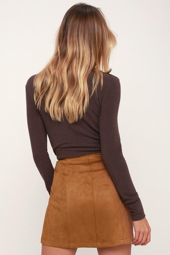 26ede2a2b Jack By BB Dakota Can't Buy Me Love - Suede Skirt - Tan Skirt
