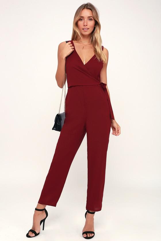 0ffa4bb271f Chic Wine Red Jumpsuit - Wine Red Jumpsuit - Surplice Jumpsuit