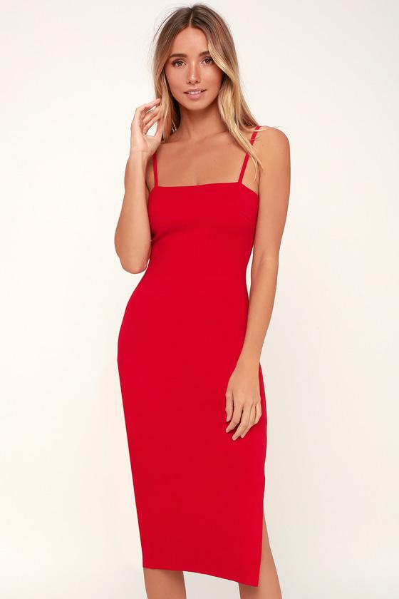 755df1cf40 Sexy Red Dress - Bodycon Dress - Midi Dress - Sleeveless Dress
