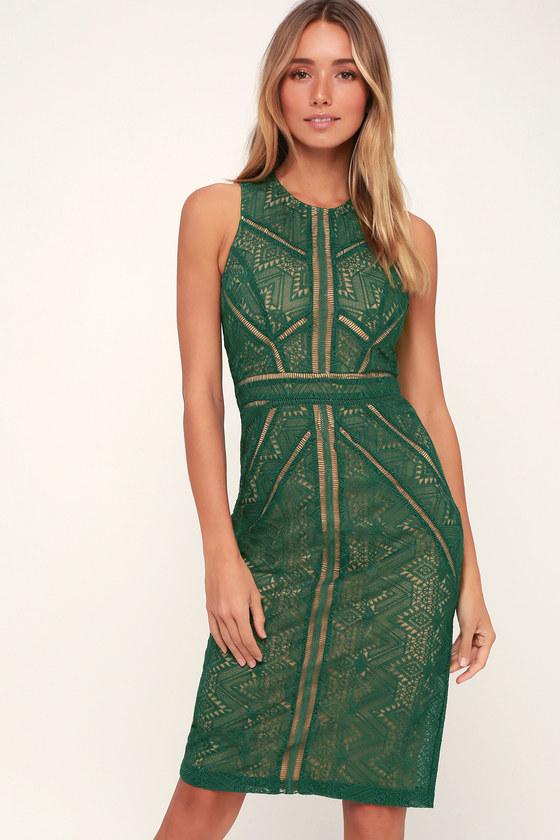 Eve Dark Green Lace Sheath Midi Dress