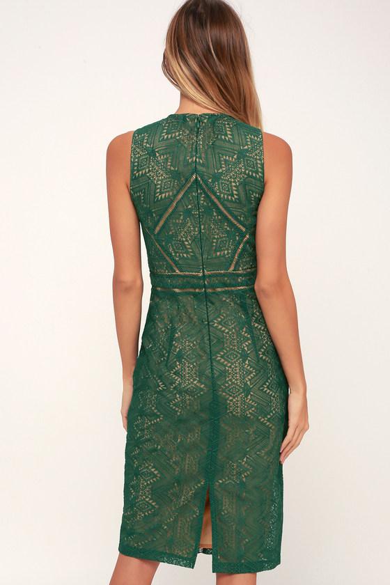 68f849cb Bardot Eve - Dark Green Lace Dress - Sheath Dress - Midi Dress