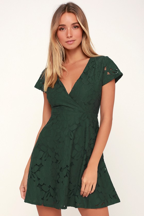 Tia Dark Green Lace Skater Dress