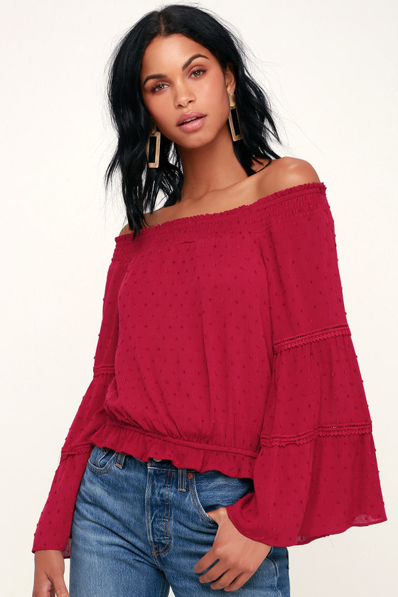 88571d95e21b Boho Off-the-Shoulder Top - Dark Red Top - Red Bell Sleeve Top