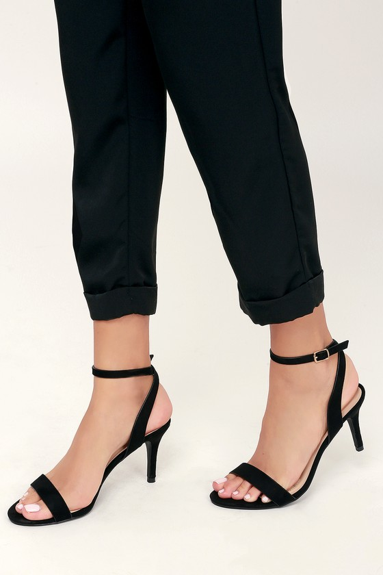 Low Black Heels With Ankle Strap
