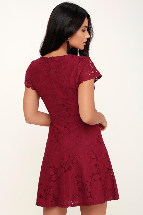 c3a0b01608 Black Swan Tia - Wine Red Dress - Lace Dress - Lace Skater Dress