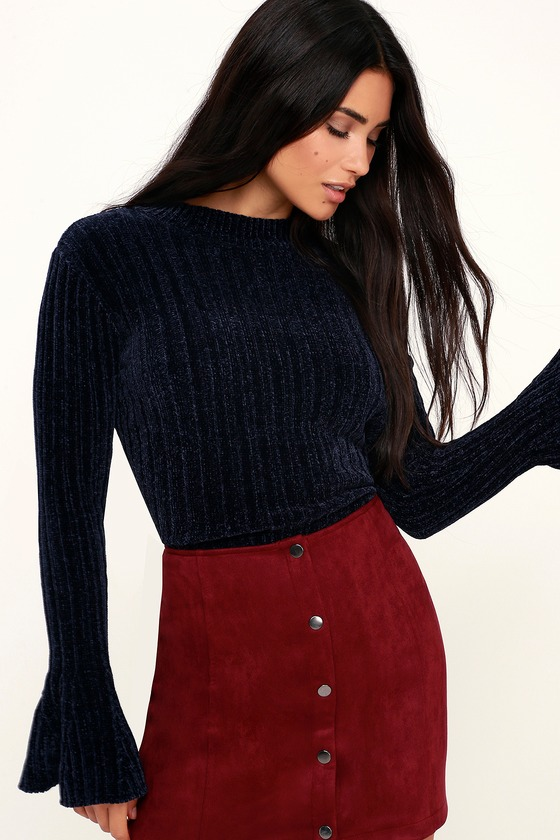 021b5981695 Lost + Wander Liberty - Navy Blue Chenille Sweater - Bell Sleeve