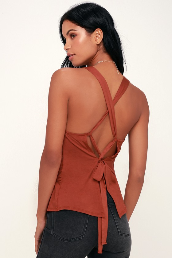 68a320578edbc Cute Lace-Up Tank Top - Rust Red Tank Top - Backless Tank Top