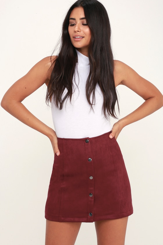079270581 Jack By BB Dakota Can't Buy Me Love - Suede Skirt - Red Skirt
