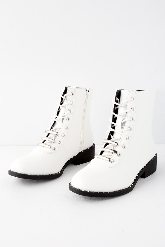 Cool White Boots - Lace-Up Combat Boots