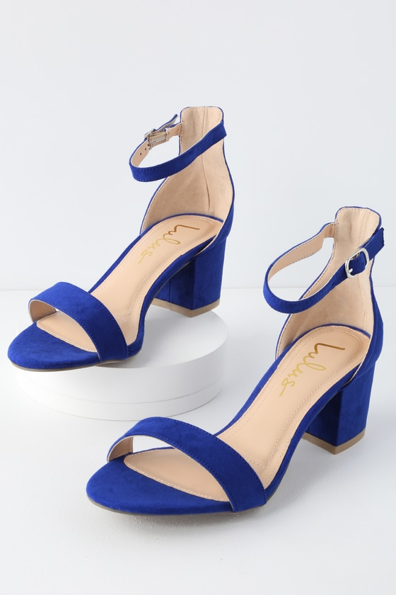 054118aab8 Chic Cobalt Blue Sandals - Single Sole Heels - Block Heel Sandals