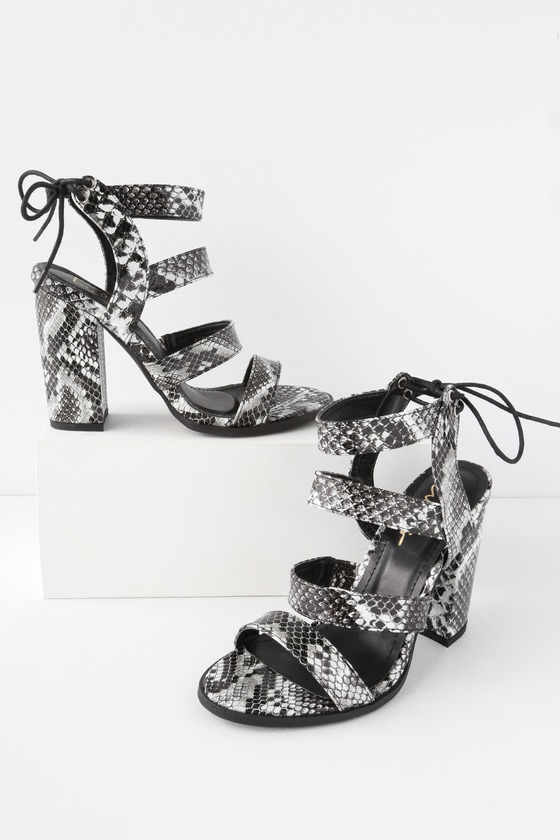 fc3c227c874 Cute Black and White Snake Heels - High Heel Sandals - Block Heel