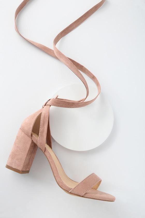 Lulus Airis - Mauve Suede Heels - Lace