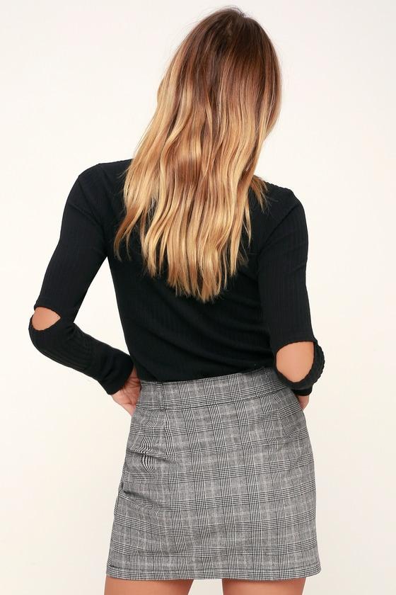 0b1c38917 Jack by BB Dakota Everything Nice - Black Glen Plaid Mini Skirt