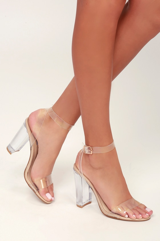 Steve Madden Camille - Lucite Heels - Lucite Ankle Wrap Heels