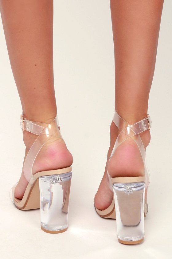 b69a6eaade3 Camille Clear Lucite Ankle Wrap Heels
