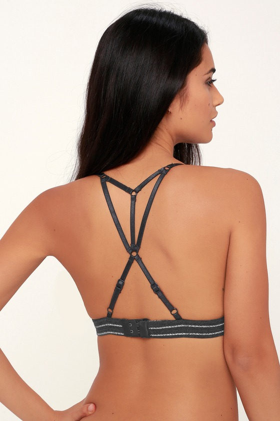 5374710011aab RVCA Conned - Charcoal Grey Striped Bralette - Strappy Bralette
