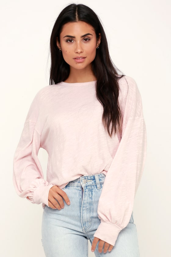 43cdf0530f99bf LUSH Balloon Sleeve Top - Pink Top - Long Sleeve Top - Cute Top