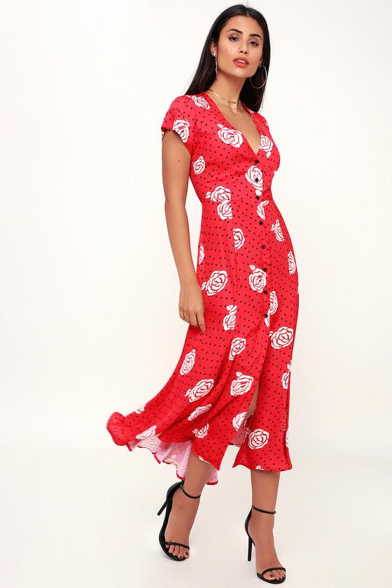 b81137ea4137 Capulet Elie - Red Satin Print Dress - Midi Dress - Button-Up