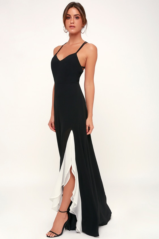 44102f6eb76 Glam Black and White Dress - Ruffle Dress - Side Slit Maxi Dress