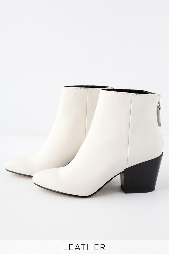 4ff903a4868 Dolce Vita Coltyn - White Genuine Leather Booties - Ankle Booties