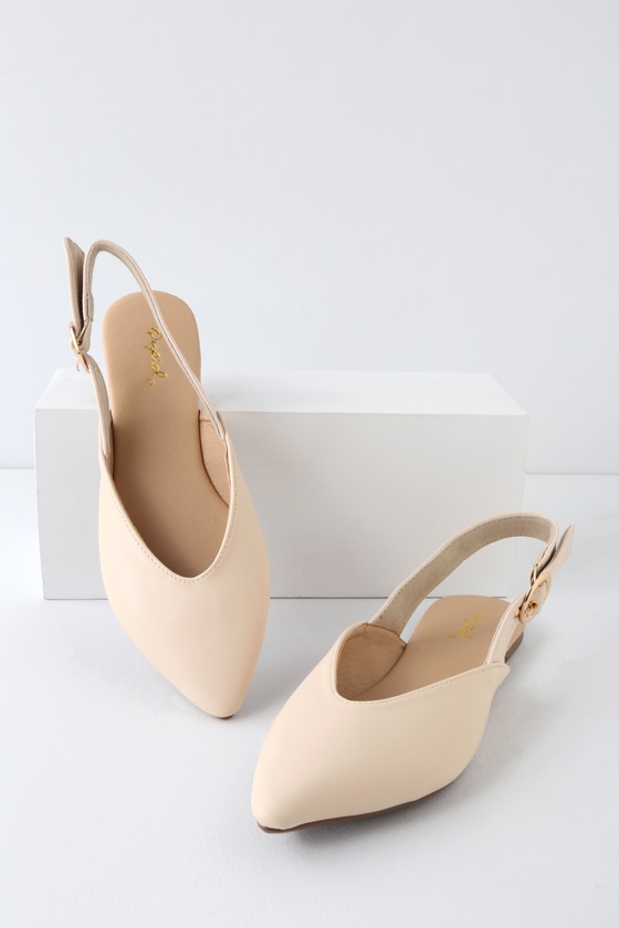 Violia Nude Pointed Toe Slingback Flats - Lulus