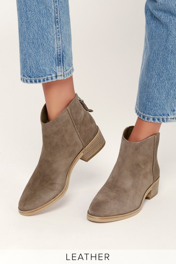 bfb2f633eb6 Dolce Vita Tucker - Dark Taupe Suede Leather Ankle Booties
