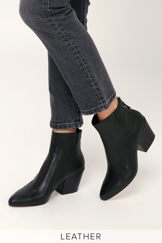 Dolce Vita Coltyn - Black Genuine Leather Booties - Ankle Booties c72968162fa