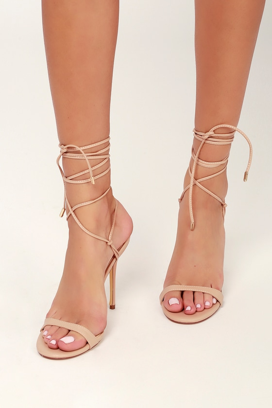 ab52cade9d Sexy Nude Lace-Up Heels - Lace-Up Heels - Nude Lace-Up Stilettos