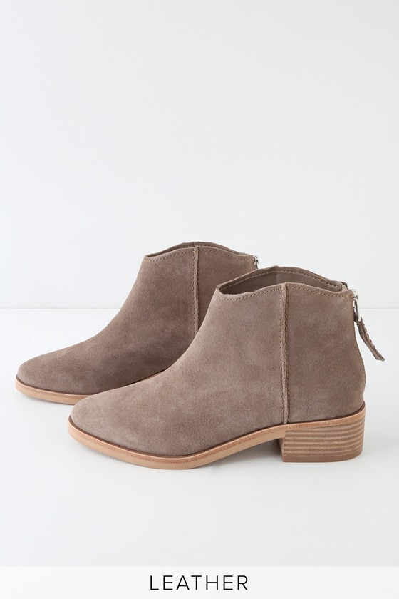 Tucker Dark Taupe Genuine Suede Leather Ankle Booties - Lulus