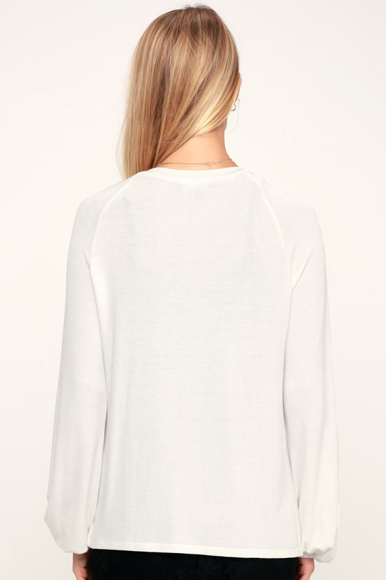 b535c2c6a97 Cute Ivory Top - Long Sleeve Top - Sweater Top - V-Neck Top