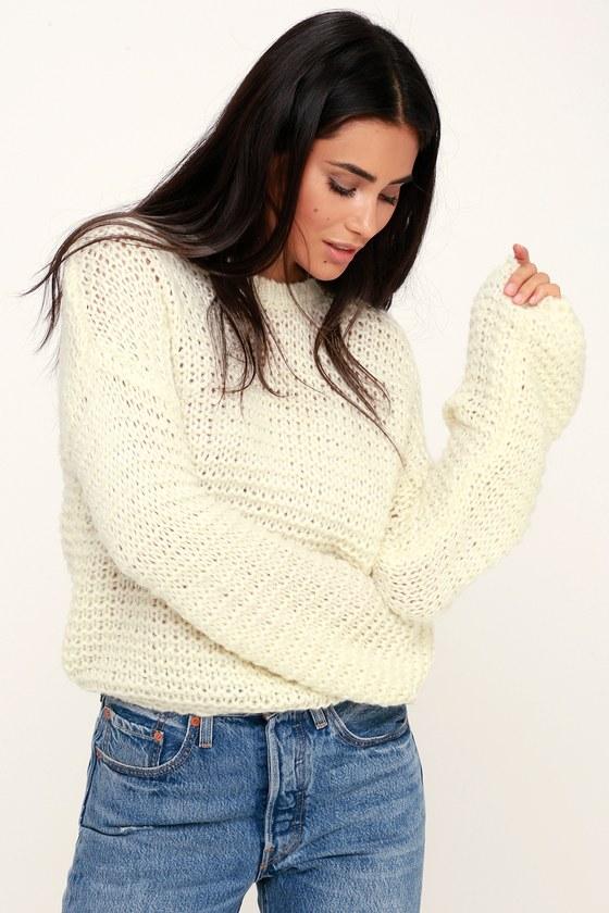 a5a760a9c684c3 Black Swan Kyla - Cream Knit Sweater - Balloon Sleeve Sweater