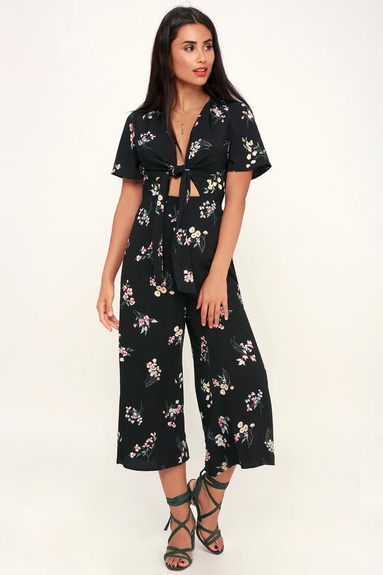 44d541827ea Floral Print Jumpsuit - Tie-Front Jumpsuit - Wide-Leg Jumpsuit