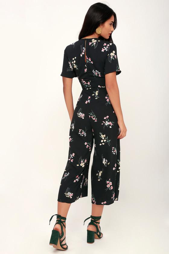 e79877d48863 Floral Print Jumpsuit - Tie-Front Jumpsuit - Wide-Leg Jumpsuit